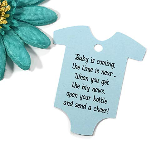 - Baby is Coming Shower Favor Tags - Light Blue One Piece Shaped Gift Tags (Set of 40)