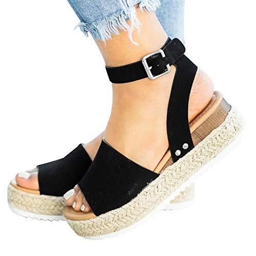 Athlefit Women's Platform Sandals Espadrille Wedge Ankle Strap Studded Open Toe Sandals Size 8.5 Black