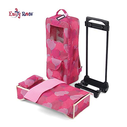 "Emily Rose 18 Inch Doll Accessories | Travel Doll Closet Case / Carrier with Heavy Duty Trolley and Removable Doll Bed with Bedding | Fits 18"" American Girl Dolls"