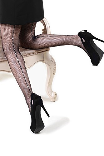 Killer Legs Women's One Size Plus Size Fishnet Pantyhose Rhinestone Studded, Black