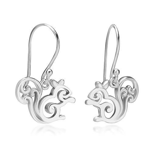 Squirrel Jewelry - 925 Sterling Silver Little Squirrel Dangle Hook Earrings