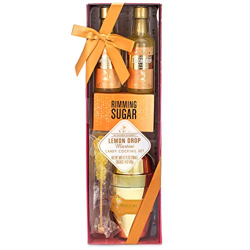 Thoughtfully Gifts, Lemon Drop Martini and Candy Cocktail Set, Includes 2 Lemon Drop Mixers 2.35 Ounces Each, Gold Shaker, 1 Ounce Rimming Sugar, and Sugar Crystal Stir Stick (Contains NO Alcohol)