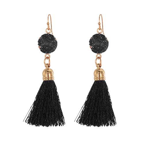 Belmarti Colorful Tassel Dangle Drop Druzy Stud Bohemian Thread Fringe Earrings Multicolored Fashion Jewelry for Women (Single-layer Black)