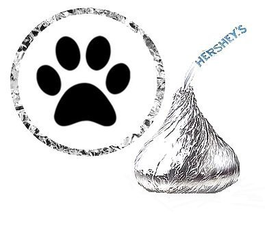 Item#44990-216 Paw Print Birthday Party Favor Hersheys Kisses Stickers Labels by CakeSupplyShop