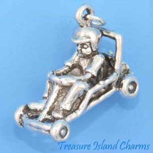 Childrens Go Karting - BOY CHILD IN GO-KART RACE CAR KARTING HEAVY 3D .925 Solid Sterling Silver Charm Jewelry Making Supply Pendant Bracelet DIY Crafting by Wholesale Charms