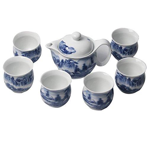 Chinese Tea Set (Signstek 7PCS Blue and White Porcelain Ceramic Tea Set Tea)