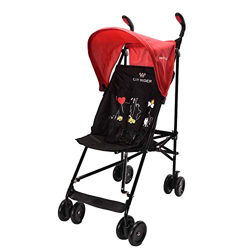 Wonder buggy Lightweight Baby Jumbo Umbrella Stroller with Rounded Hood (Red)