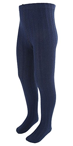[EachWell Girls Kids Fall Winter Cotton Stretch Cable Knit Footed Tight Leggings Navy Blue,US 3T=Asian Tag] (Princess Outfit Ideas)