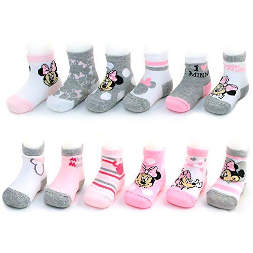 Disney Baby Girls Assorted Minnie Mouse Designs 12 Pair Socks Variety Set, Age 0-24 Months (0-6 Months, Pink-White-Grey Collection)