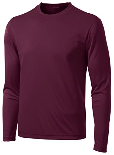 - Joe's USA DRI-Equip Tall Long Sleeve Moisture Wicking Athletic Shirt-Maroon-3XLT