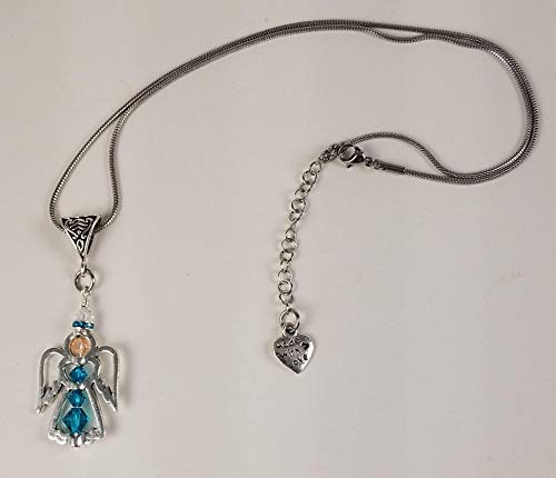 Swarovski Teal Crystal Guardian Angel Silhouette Pendant with Amber Face Necklace -Ovarian Cancer Awareness