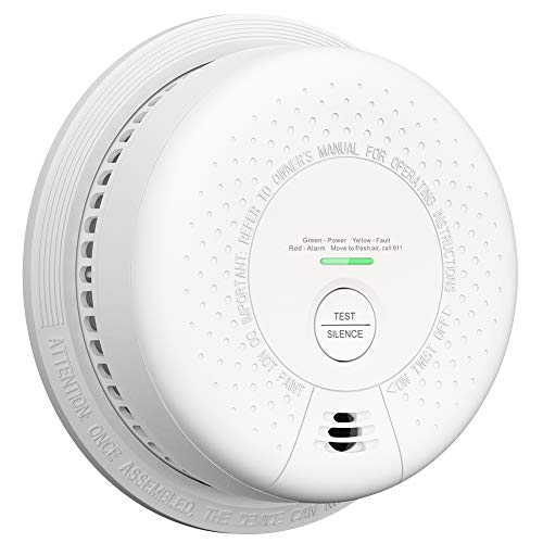 10-Year Battery Life X-SENSE Smoke Detector and Carbon Monoxide Detector Alarm with Silence Button and fire-Retardant PC Plastic Material, Easy Installation, Auto-Check, SC03