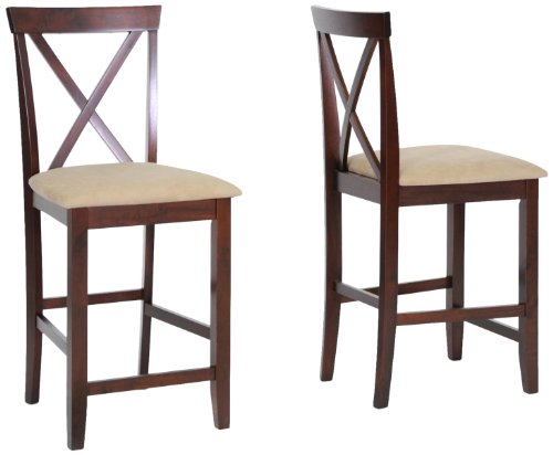 Baxton Studio Natalie Wood Modern Counter Stool, Brown, Set of 2 (Bar Sets Sale And For Stool)