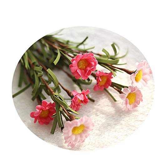 Nice 8 Heads Colorful Artificial Flowers Silk Daisy Flowers Fake Flowers DIY Wedding Party Decoration Home Vases Decoration Pink Rose - Brothers Johnson Tulip