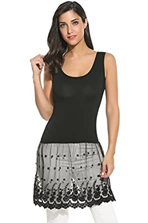 Meaneor Womens Plus Size Casual Basic Tank Top Lace Bottom Dress