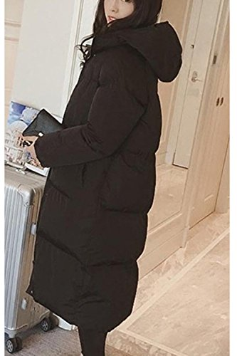 Capucha Invierno Outwear La Cremallera Parkas Mujer negro Larga Casual Acolchada Con De Tunica PrrwIWanAx