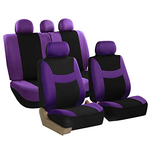FH Group FH-FB030115-SEAT Light & Breezy Purple/Black Cloth Seat Cover Set Airbag & Split Ready- Fit Most Car, Truck, SUV, or Van