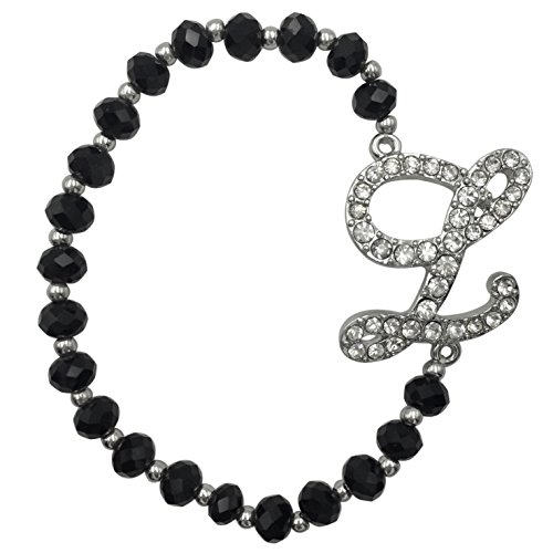 Silver Tone Beaded Disc - Monogram Initial Black Glass Beaded Silver Tone Rhinestone Stretch Bracelet (Letter L)