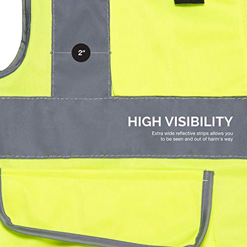 Neiko 53994A High Visibility Safety Vest with 7 Pockets and Zipper, Neon Yellow | Size L by Neiko (Image #1)