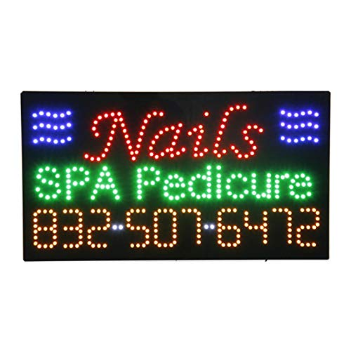 LED Nails Spa Pedicure Open Light Sign Super Bright Electric Advertising Message Display Board for Business Shop Store Window Bedroom 31 x 17 inches