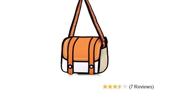 d48157a5fb Amazon.com  Unisex Cute Messenger Bag Comic Bag 2d Drawing 3d Jump From Cartoon  Paper Orange  Beauty