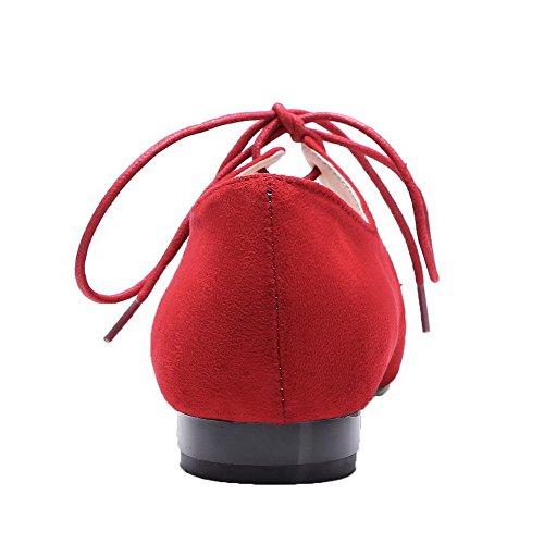 mattierte und 35 Feste Frauen Schnürung Absatz Odomolor Pumps Rot und mit Absatz pB4qRxf