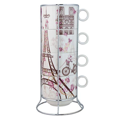 (Grace Teaware Paris Stackable Coffee Tea Mug 12-Ounce With Metal Stand (Set of 4))