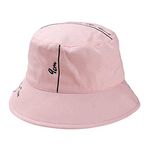 Outdoor Fisherman Hat Unisex Printing Letter Hat Fashion Wild Sun Protection Cap Pink (Napa Letter)