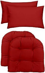 "RSH Décor Indoor/Outdoor - 2 U-Shape Wicker Chair Cushions & Bonus Lumbar/Throw Pillows (2 (19"" x 19"") Cushions & 2 (20"" x 12"") Pillows, Solid Red Fabric)"