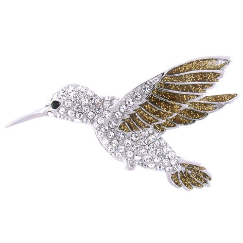 Silver and Clear Crystal Hummingbird Brooch ()