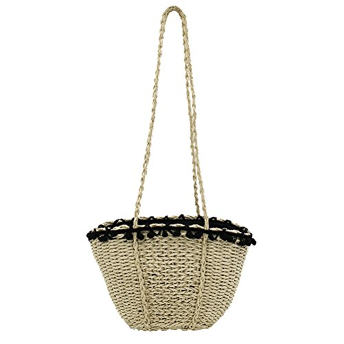 Travel Bag Peerless Casual For Hand White Everyday Use Bags And Vacation Beach Womens Handbags Straw Sunmmer Natural d Woven Tote 1xxpqF6w
