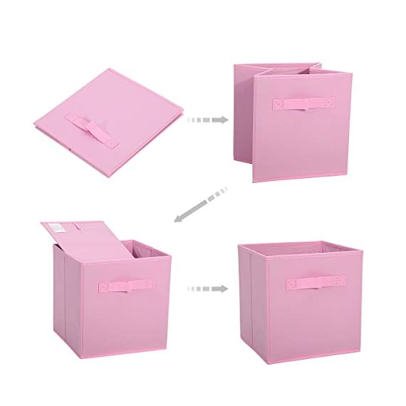 GEMITTO 6 Pack Storage Cubes, Foldable Fabric Storage Bins Basket Containers with Dual Handles for Home Closet Nursery Drawers Organizer Pink - Ships from US warehouse(fast delivery): The storage box is a new type of fiber product that is made of polyester and nonwoven fabric, soft and breathable. It can effectively prevent all kinds of aphids from invading. Suitable for home leisure life. Storage Expert: The daily use of small clothes is always a headache, the storage box can store accessories such as underwear, socks, ties, etc. Make your wardrobe clean and tidy, quickly find what you need, saving you precious time. 2 Handles Design: These nonwoven fabric storage boxes can be easily slided in and pulled out of cube shelves thanks to their sewn in handles, durable and easy to use. Besides, it is also easy to carry with these handles. - living-room-decor, living-room, baskets-storage - 41c%2Bti9FioL. SS570  -