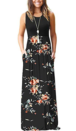 MOLERANI Women's Sleeveless Loose Plain Maxi Dresses Casual Long Dresses with Pockets Rose Black M