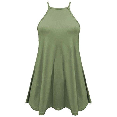Janisramone - Camiseta sin mangas - Básico - Sin mangas - para mujer caqui