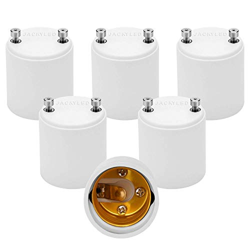 JACKYLED GU24 to E26 E27 Adapter 6-pack Heat Resistant Up to 200℃ Fire Resistant Converts GU24 Pin Base Fixture to E26 E27 Standard Screw-in Socket