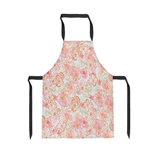 Pinbeam Apron Colorful Pastel Floral Pattern Shabby Chic Flower Orange with Adjustable Neck for Cooking Baking Garden