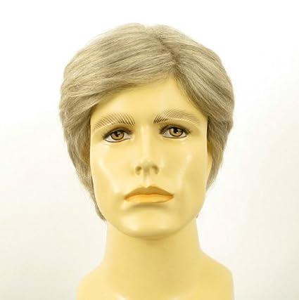 Peluca hombre corto de cabello 100% natural blanco y gris BERNARD 51