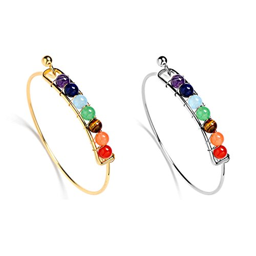 Bogo Arty 7 Chakra Healing Gemstone Multilayer Colorful Crystal Hand Beaded Bracelets Cuff Bangles