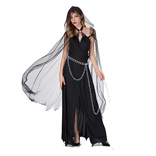 Women's Grim Reaper Costume Death Ghost Demon Dark Witch Fancy Dress Black Robe Gown with Mesh Cape Scary Halloween Costumes (Asian Tags L=4-6, -
