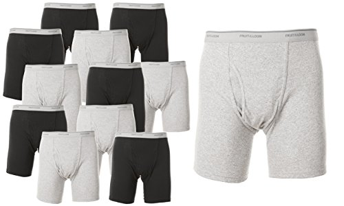 12 Mens Boxer Briefs - Fruit of the Loom Men`s 12-Pack Boxer Briefs, Black/Grey, Small