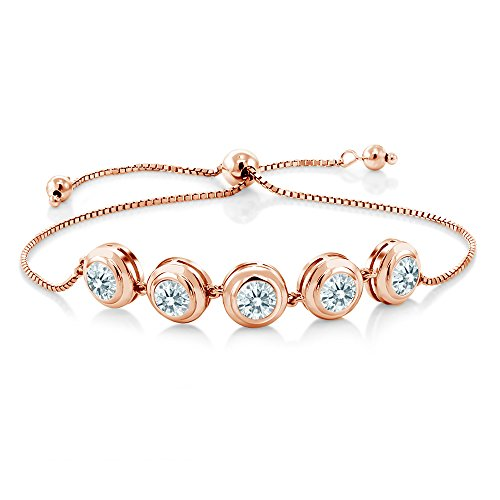 18K Rose Gold Plated Silver Bracelet Set with White Zirconia from ()