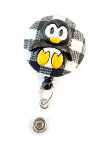 Penguin - Nurse Badge Reel - Retractable ID Badge Holder - Nurse Badge - Badge Clip - Badge Reels - Pediatric - RN - Name Badge Holder