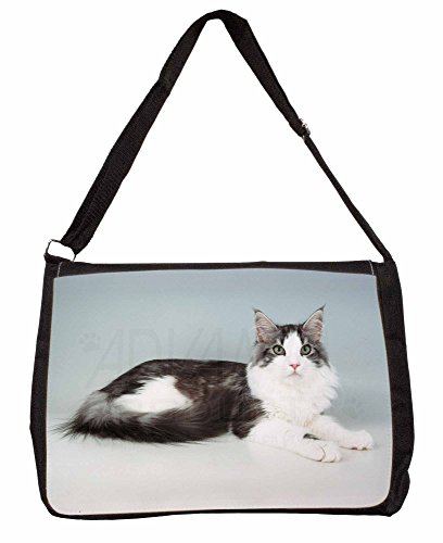 Silver, White Maine Coon Cat Large 16 Black School Laptop Shoulder Bag