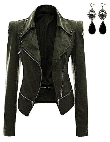 (Oioninos Women Leather Jacket Slim Punk Bomber Casual Zipper Short)