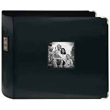 Pioneer 12-Inch by 12-Inch Sewn Leatherette 3-Ring Binder, Black