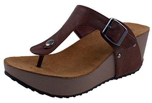 Cambridge Select Women's Slip-On Thong Platform Wedge Slide Sandal (10 B(M) US, Classic Chocolate) ()