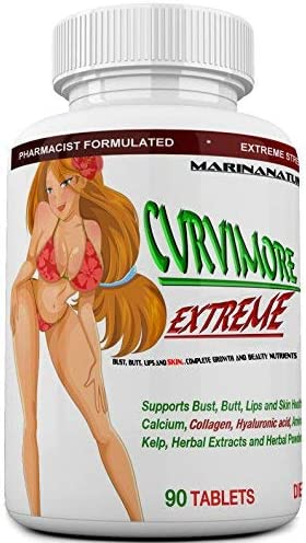 CURVIMORE EXTREME The Most Advanced and Loaded Breast Enlargement, Butt Enhancement, Lip Plumping and Skin Tightening 5 in 1 Extreme Strength Pills -Natural Bust and Butt Enhancement Pills-90 Tablets
