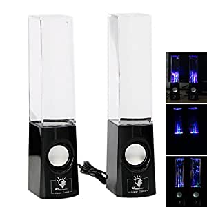 Glarry Water Fountain Speakers Dancing LED Lights Laptop Computer MP3 iPod Audio Sound Black