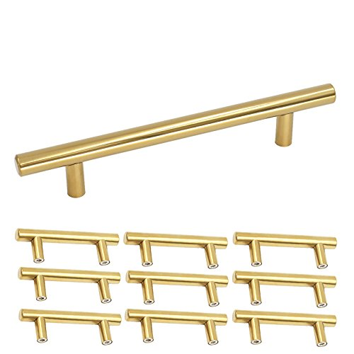 Brass 6 Pull Handle (Homdiy Brushed Brass Cabinet Handles 3-3/4 in Hole centers Kitchen Cupboard Door Handles and Pulls 6in Length Gold 10 Pack)