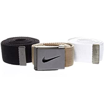 Nike Men's Tiger Woods Men's Webbing Belt 3-Pack,Black/Khaki/White,One Size